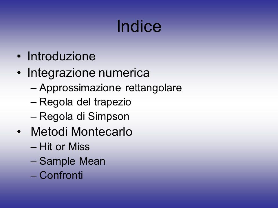Indice Introduzione Integrazione numerica Metodi Montecarlo