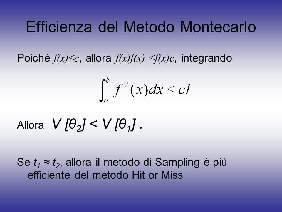 Efficienza del Metodo Montecarlo