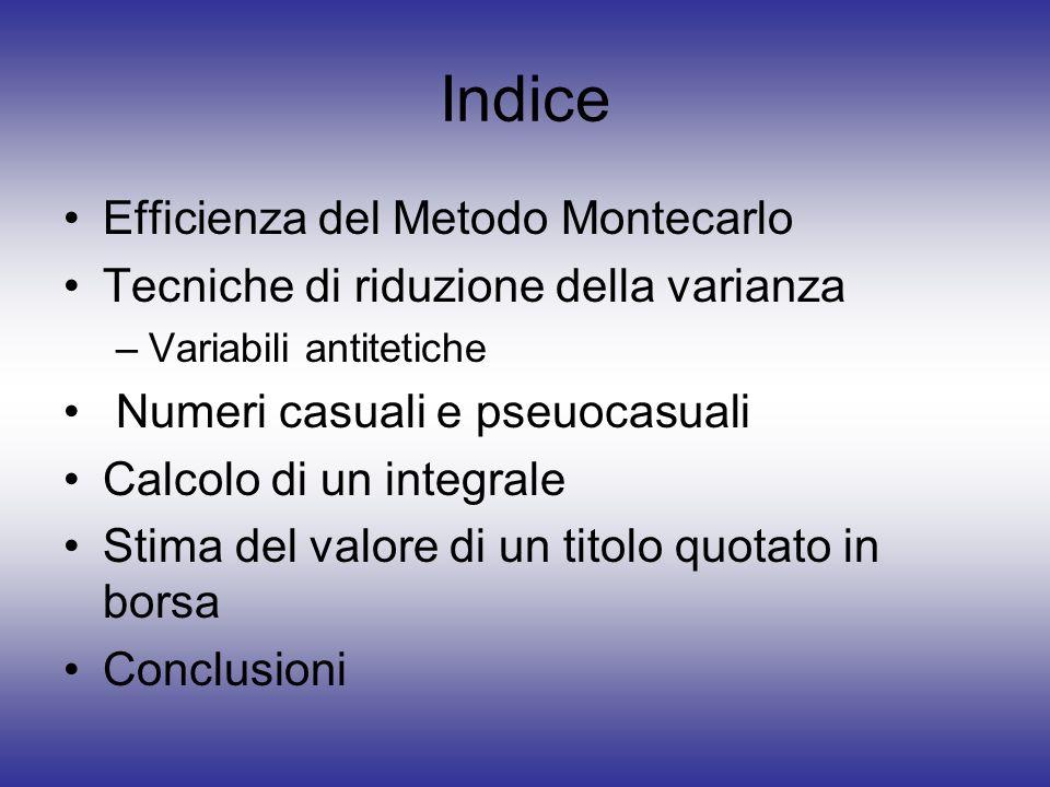 Indice Efficienza del Metodo Montecarlo