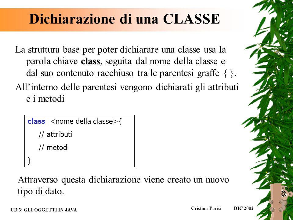 Dichiarazione di una CLASSE