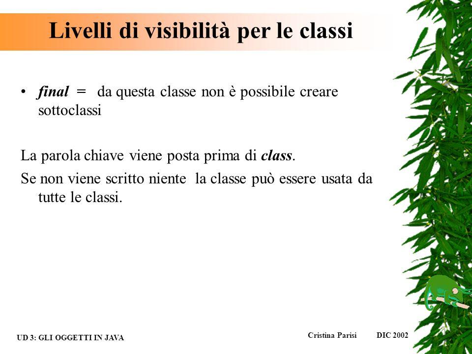 Livelli di visibilità per le classi