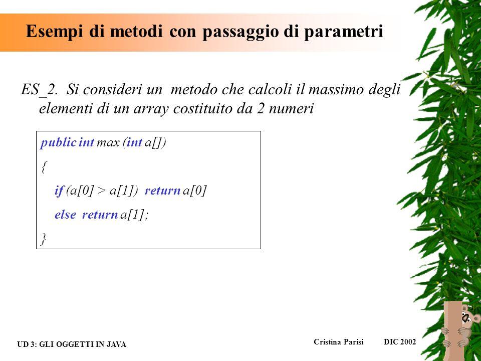 Esempi di metodi con passaggio di parametri