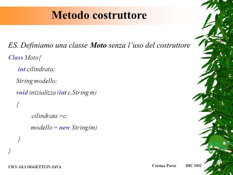 Metodo costruttore ES. Definiamo una classe Moto senza l'uso del costruttore. Class Moto{ int cilindrata;