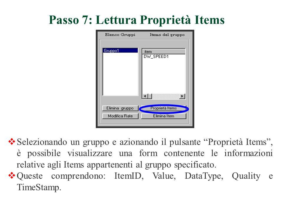 Passo 7: Lettura Proprietà Items