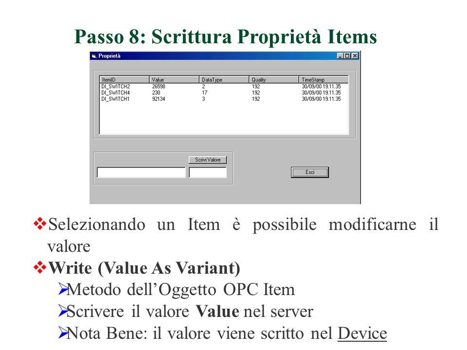 Passo 8: Scrittura Proprietà Items