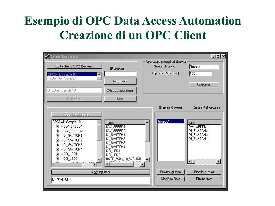 Esempio di OPC Data Access Automation Creazione di un OPC Client
