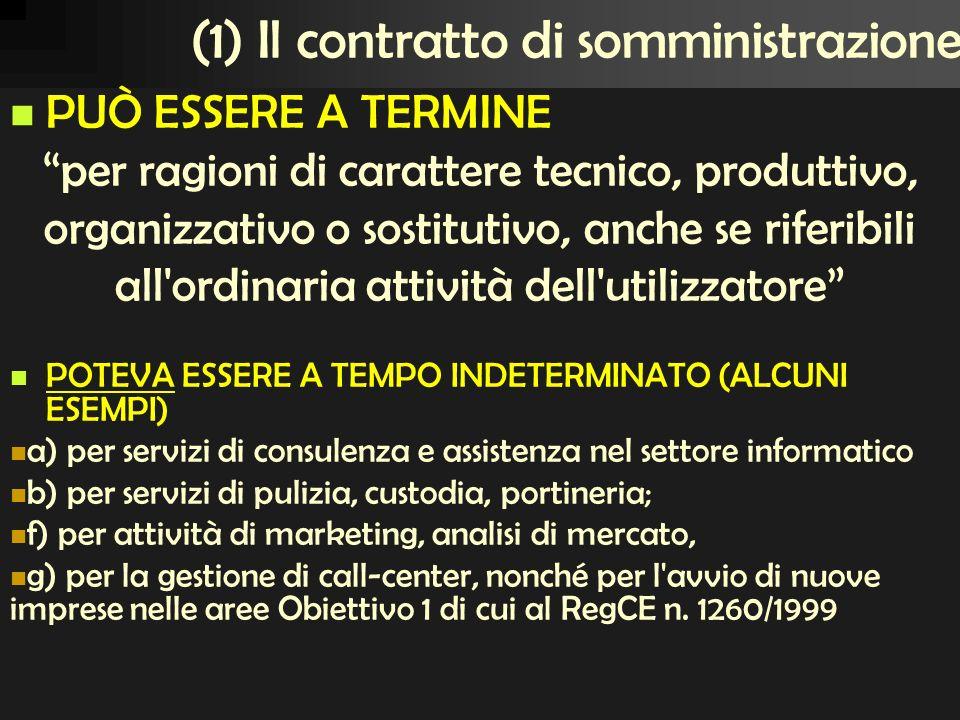 (1) Il contratto di somministrazione
