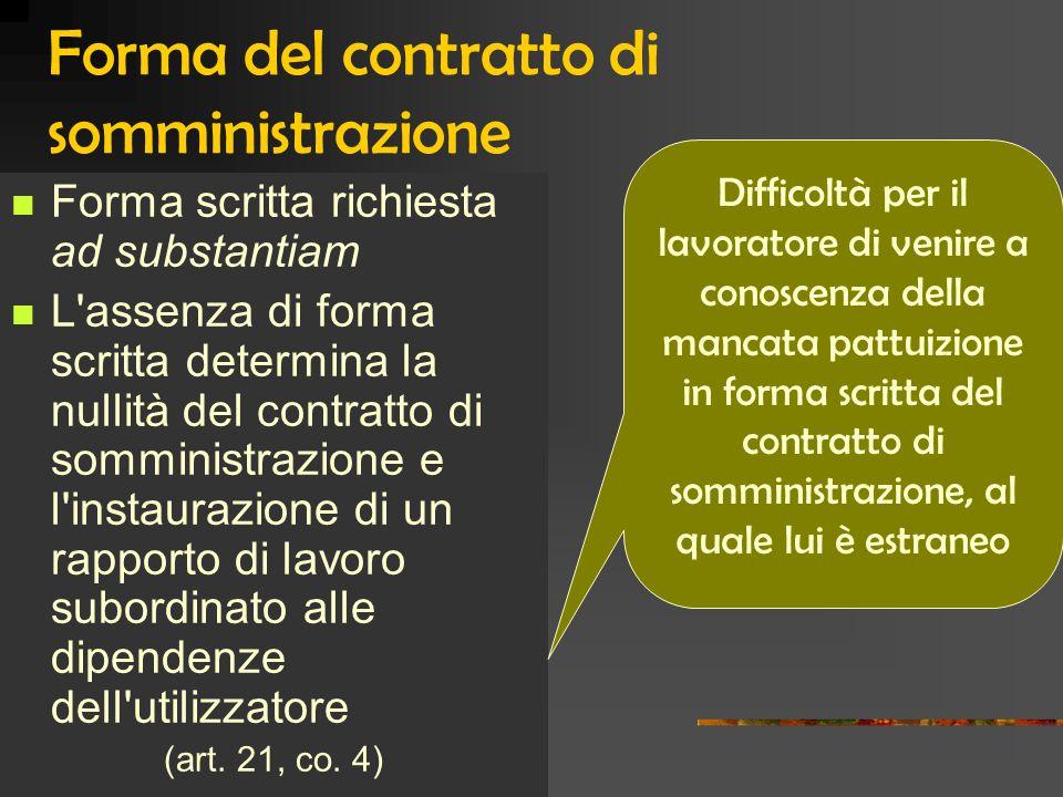 Forma del contratto di somministrazione