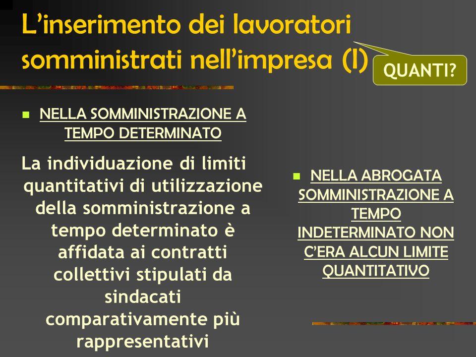 L'inserimento dei lavoratori somministrati nell'impresa (I)