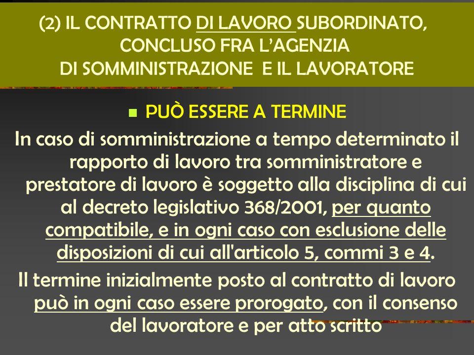 (2) IL CONTRATTO DI LAVORO SUBORDINATO,
