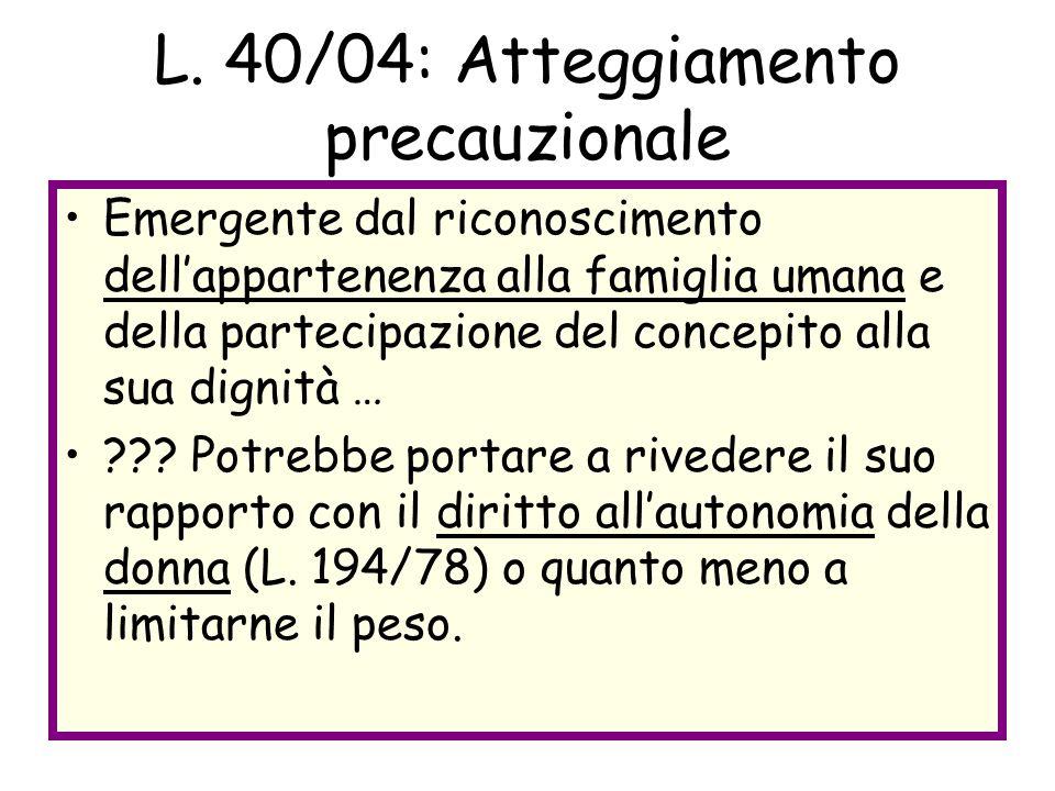 L. 40/04: Atteggiamento precauzionale