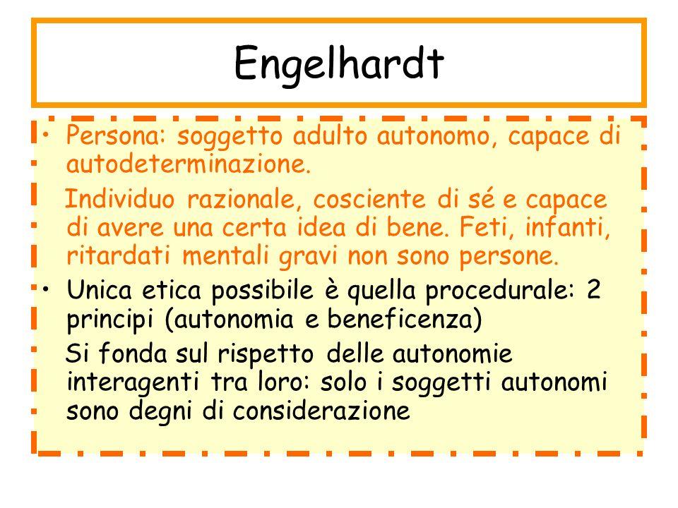 Engelhardt Persona: soggetto adulto autonomo, capace di autodeterminazione.