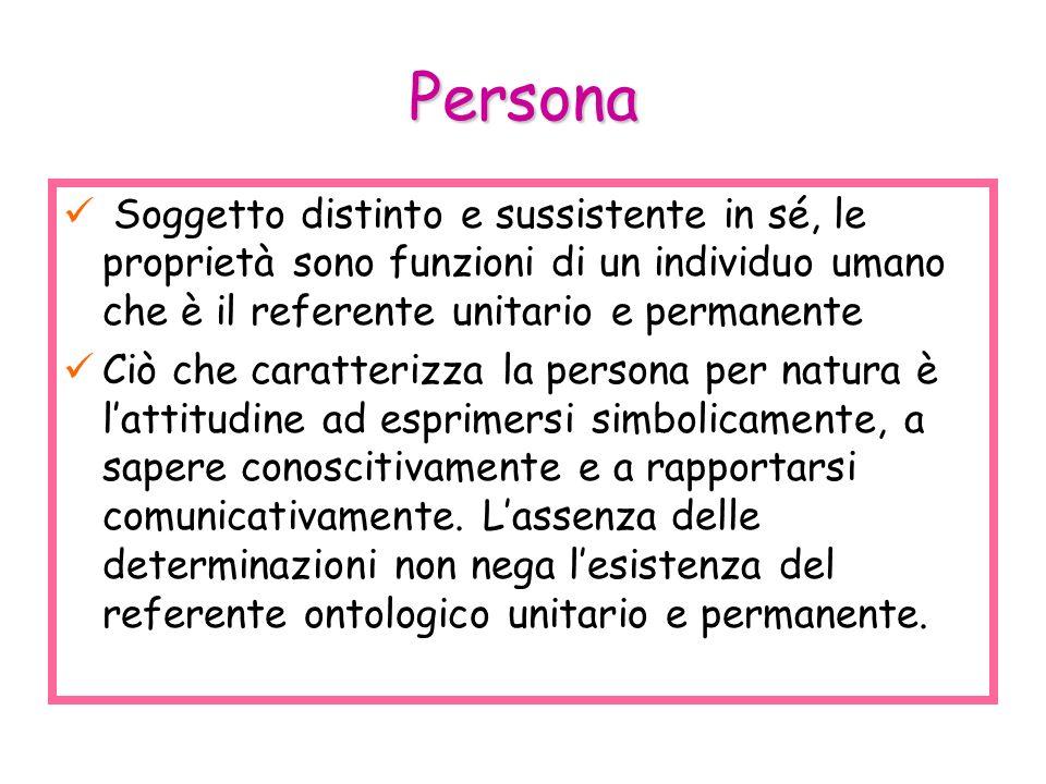 Persona Soggetto distinto e sussistente in sé, le proprietà sono funzioni di un individuo umano che è il referente unitario e permanente.