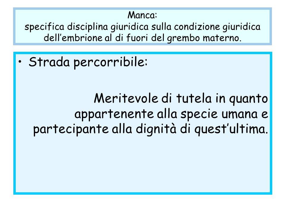 Manca: specifica disciplina giuridica sulla condizione giuridica dell'embrione al di fuori del grembo materno.