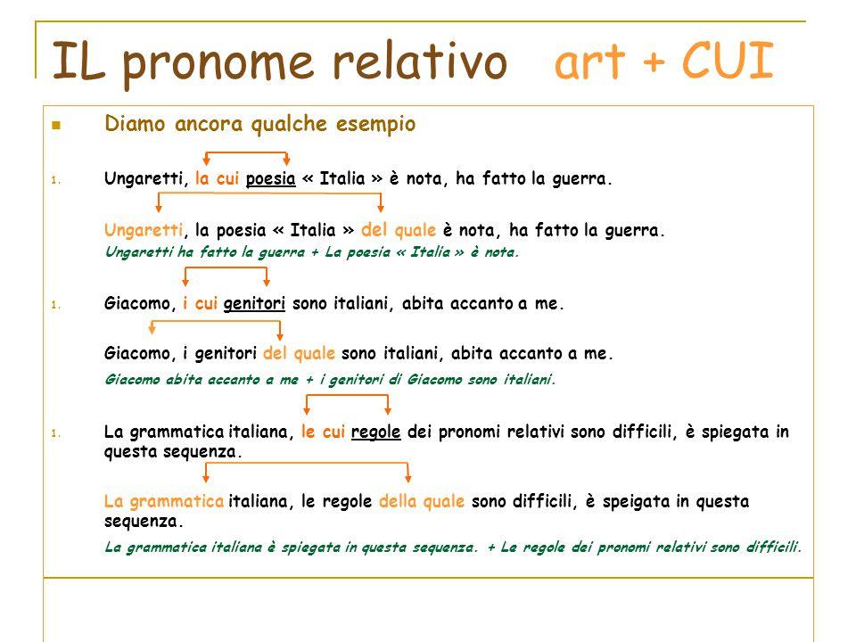 IL pronome relativo art + CUI