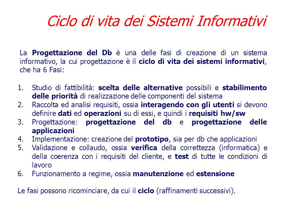 Ciclo di vita dei Sistemi Informativi