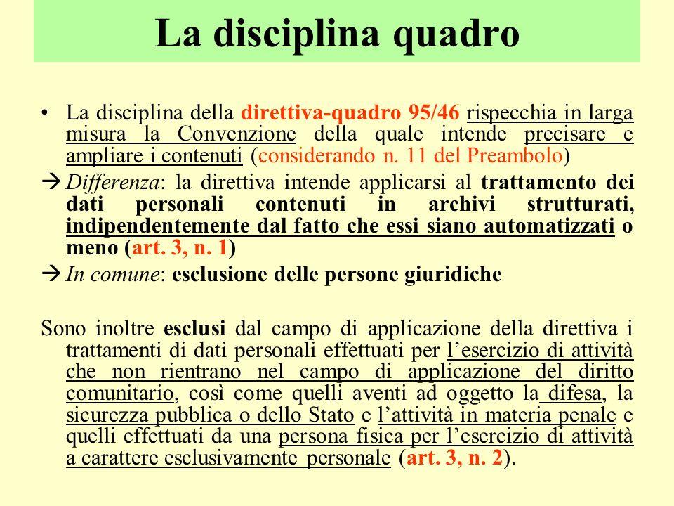 La disciplina quadro