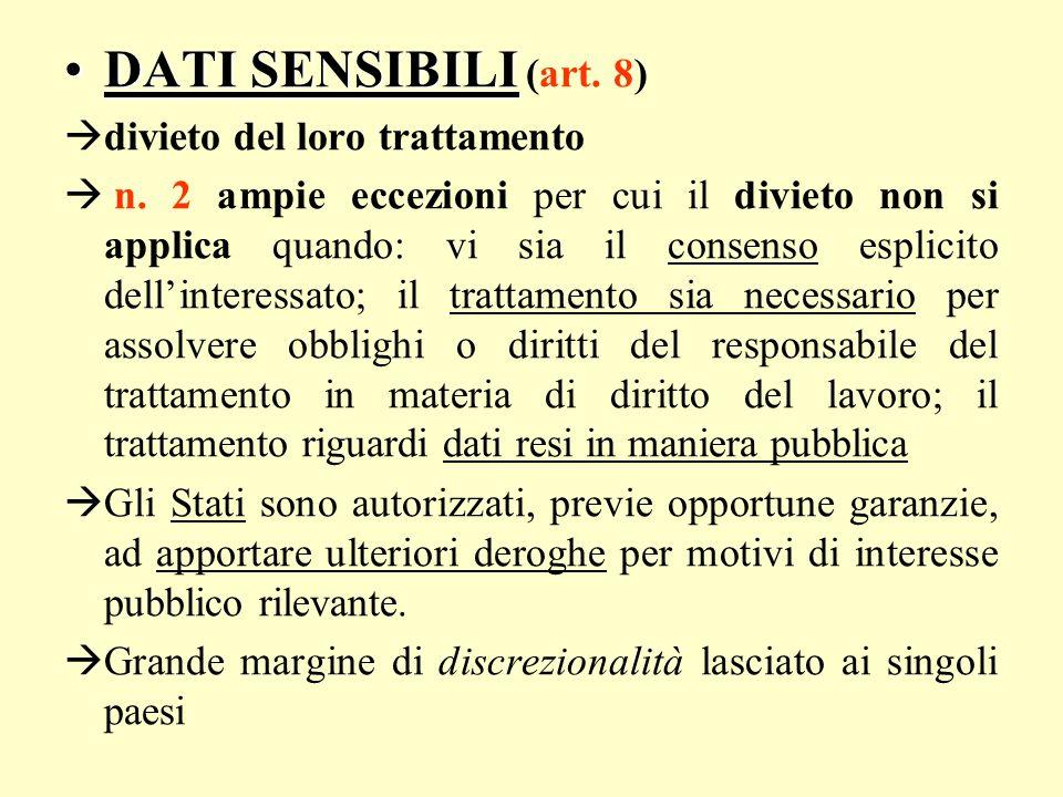 DATI SENSIBILI (art. 8) divieto del loro trattamento