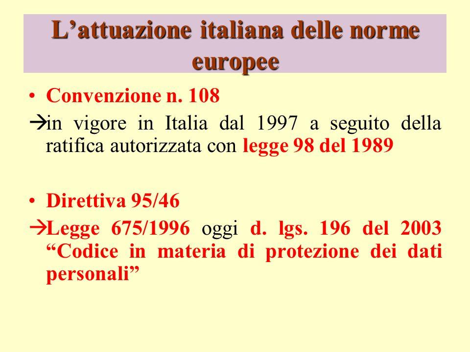 L'attuazione italiana delle norme europee