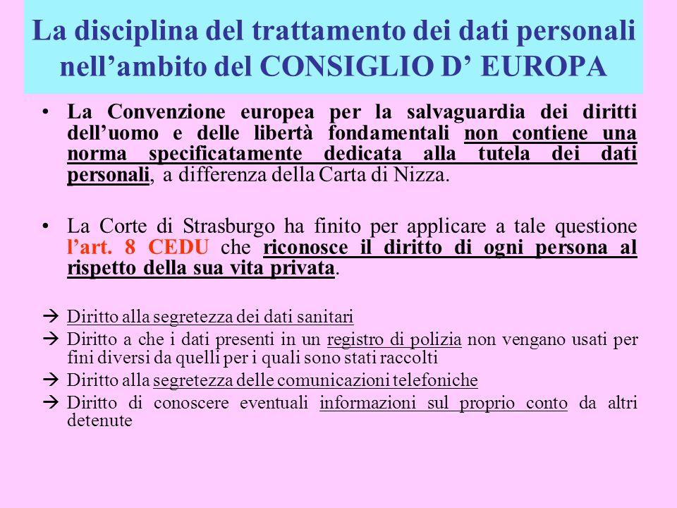 La disciplina del trattamento dei dati personali nell'ambito del CONSIGLIO D' EUROPA
