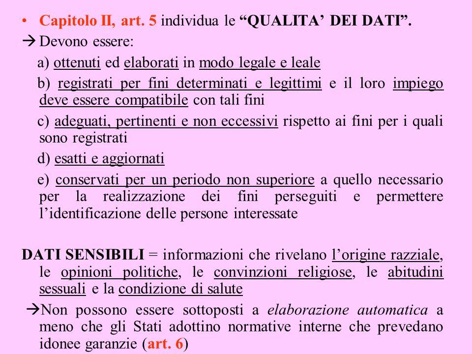 Capitolo II, art. 5 individua le QUALITA' DEI DATI .