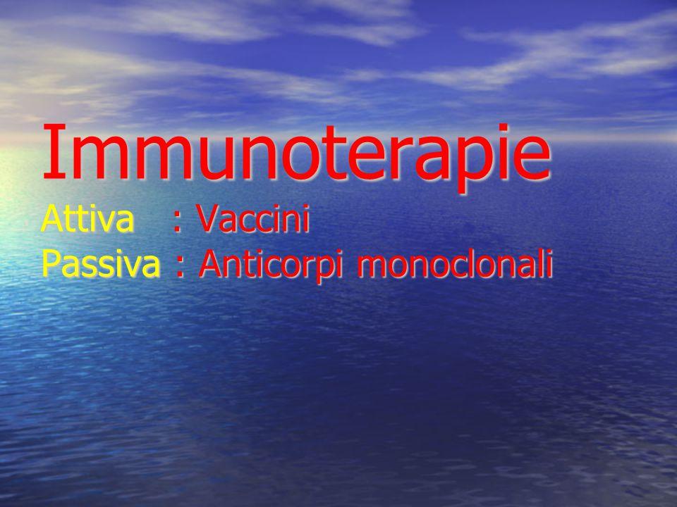 Immunoterapie Attiva : Vaccini Passiva : Anticorpi monoclonali
