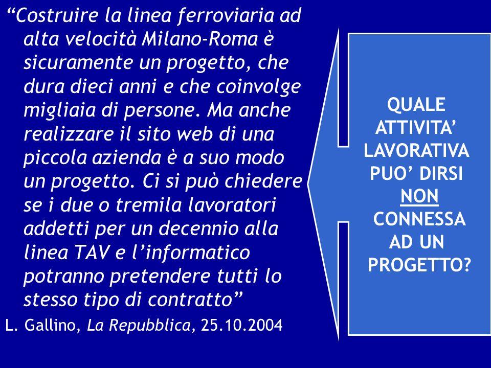 Costruire la linea ferroviaria ad alta velocità Milano-Roma è sicuramente un progetto, che dura dieci anni e che coinvolge migliaia di persone. Ma anche realizzare il sito web di una piccola azienda è a suo modo un progetto. Ci si può chiedere se i due o tremila lavoratori addetti per un decennio alla linea TAV e l'informatico potranno pretendere tutti lo stesso tipo di contratto