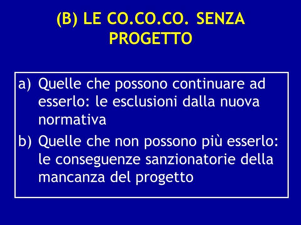 (B) LE CO.CO.CO. SENZA PROGETTO