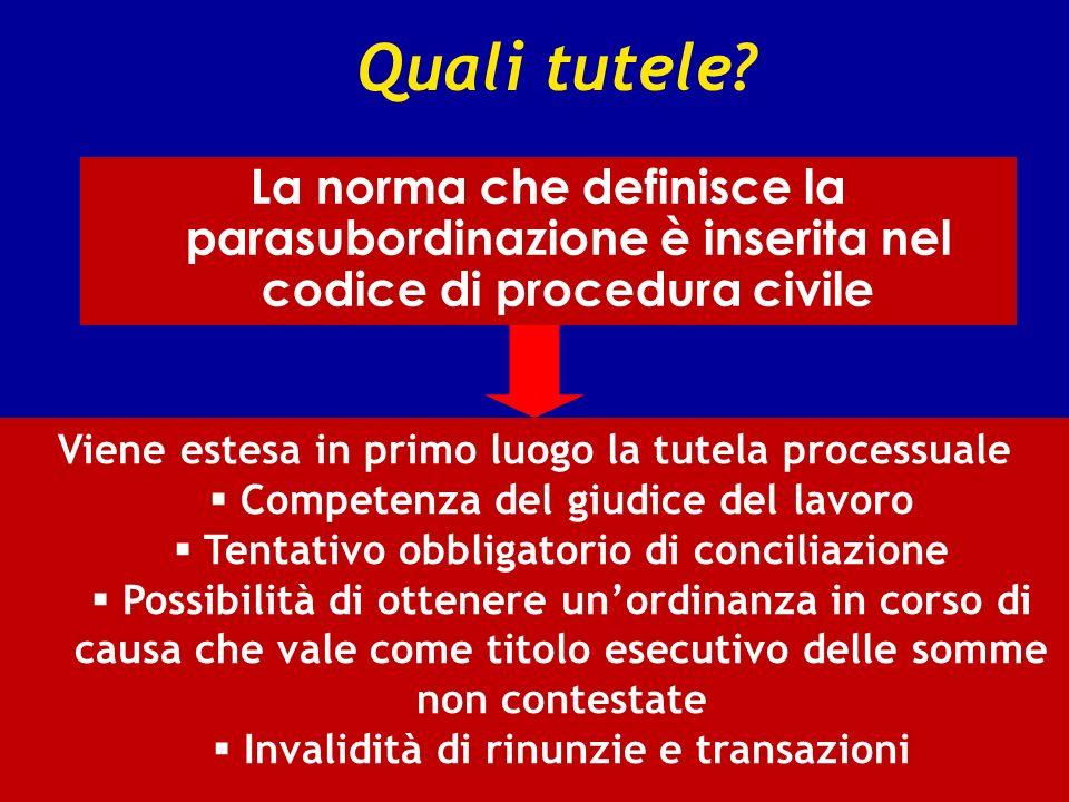 Quali tutele La norma che definisce la parasubordinazione è inserita nel codice di procedura civile.