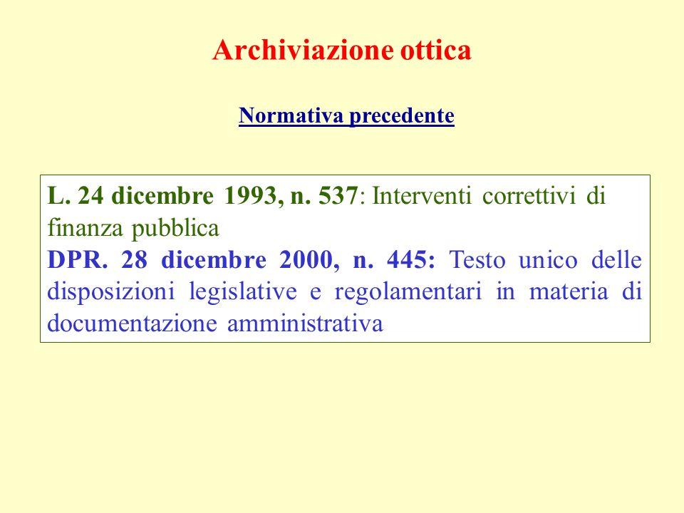 Archiviazione otticaNormativa precedente. L. 24 dicembre 1993, n. 537: Interventi correttivi di finanza pubblica.