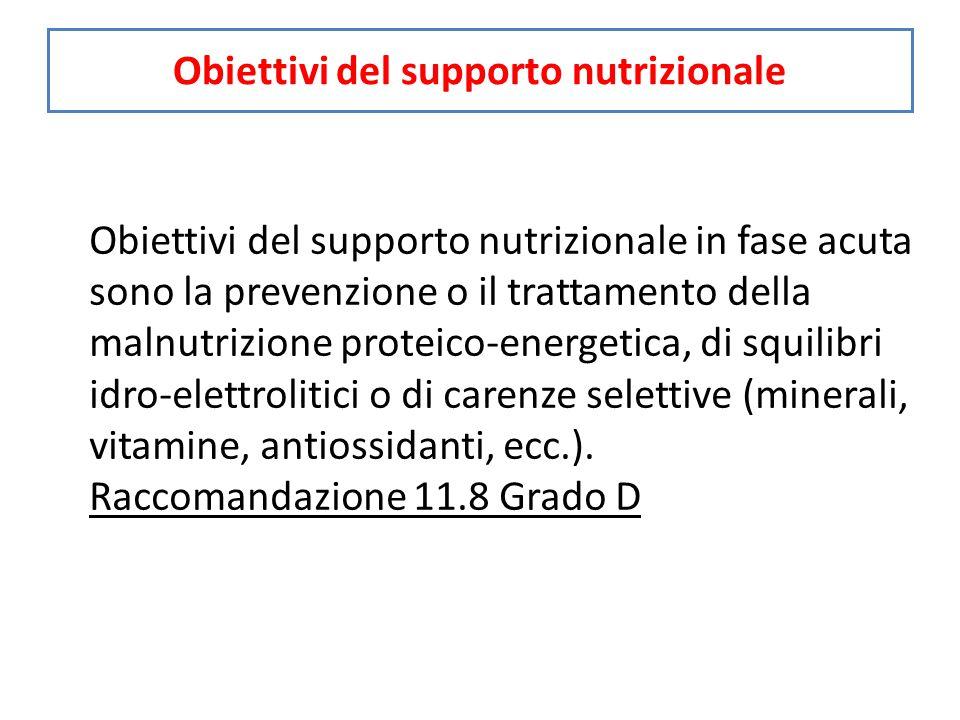 Obiettivi del supporto nutrizionale