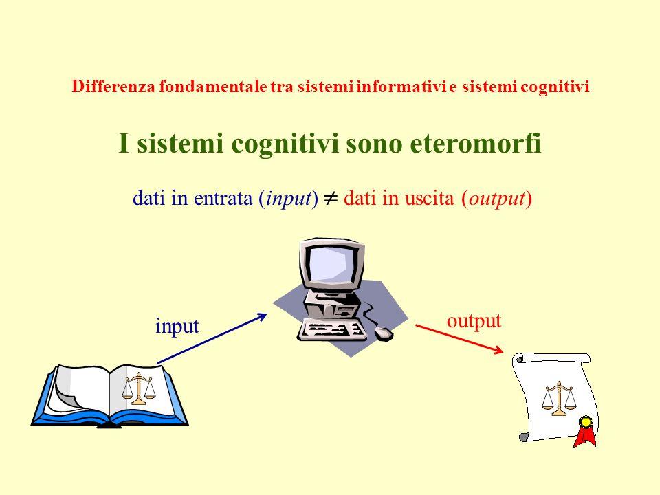 Differenza fondamentale tra sistemi informativi e sistemi cognitivi