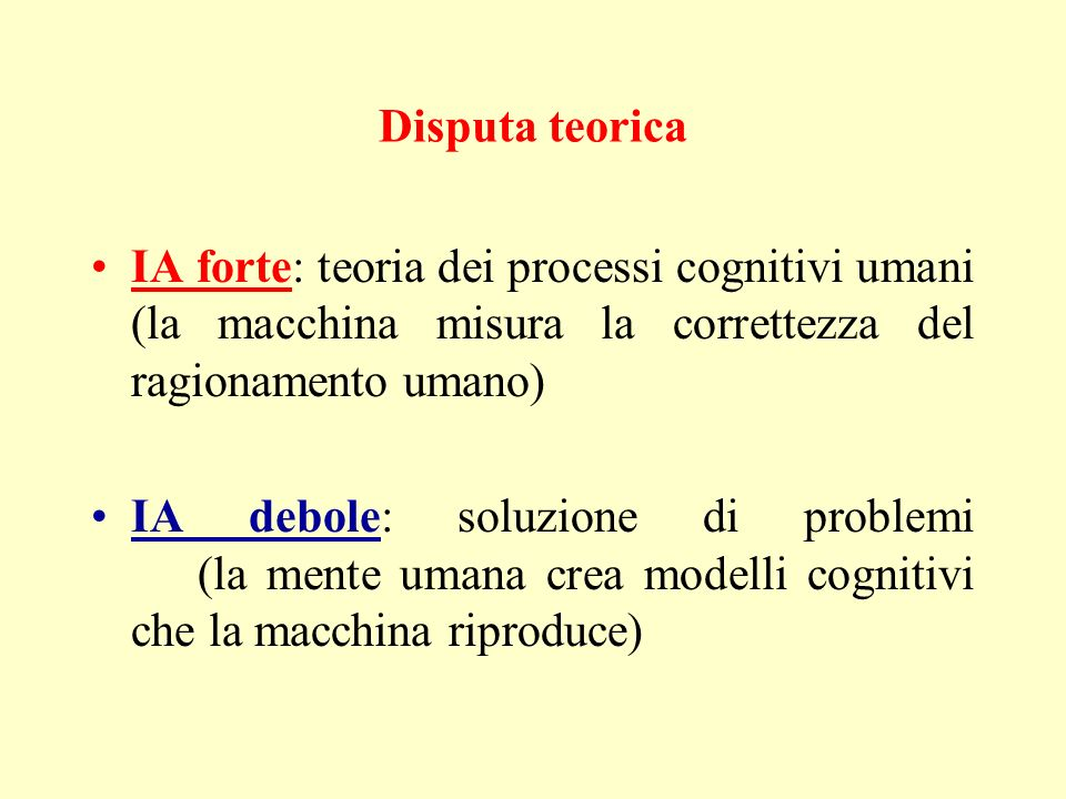 Disputa teorica IA forte: teoria dei processi cognitivi umani (la macchina misura la correttezza del ragionamento umano)