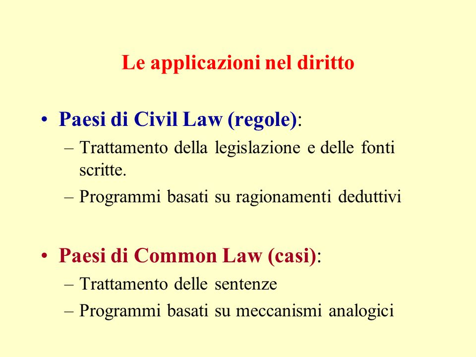 Le applicazioni nel diritto