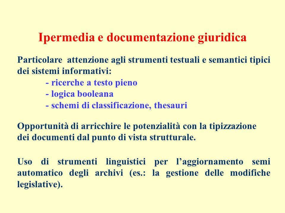 Ipermedia e documentazione giuridica