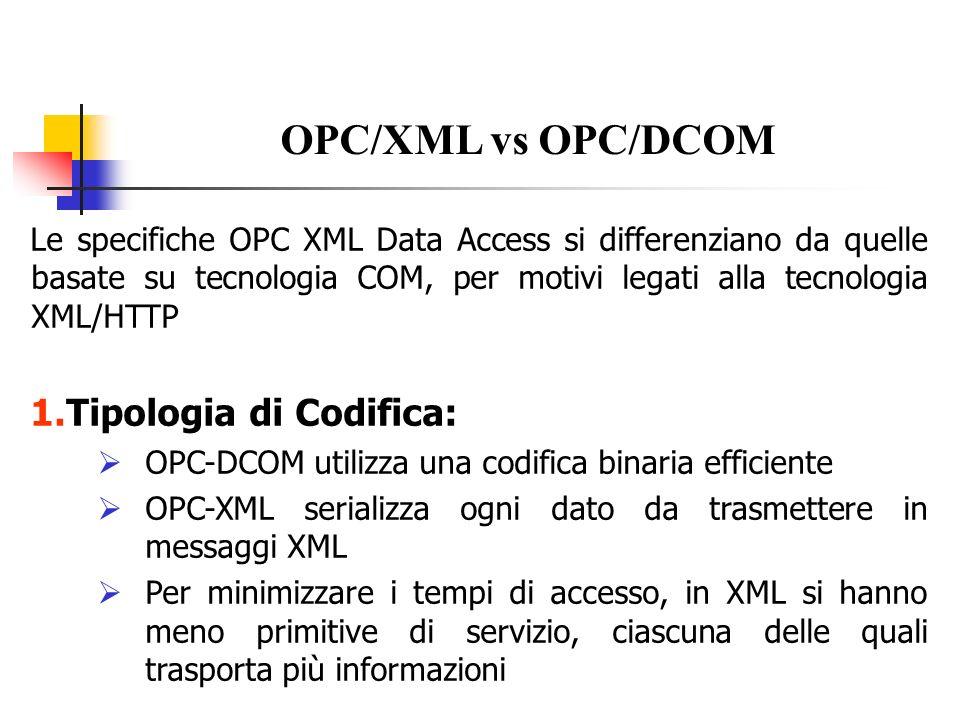 OPC/XML vs OPC/DCOM Tipologia di Codifica: