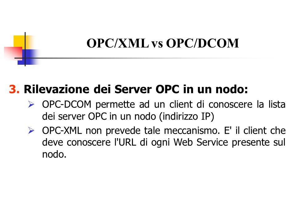 OPC/XML vs OPC/DCOM Rilevazione dei Server OPC in un nodo: