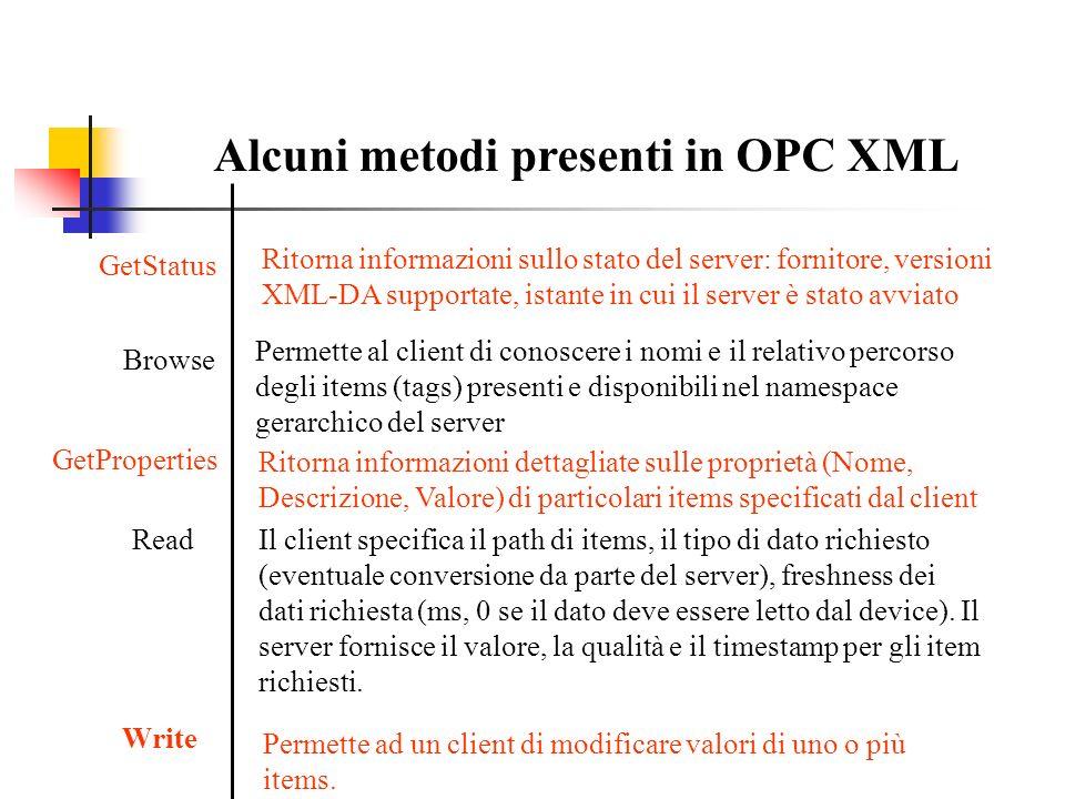 Alcuni metodi presenti in OPC XML