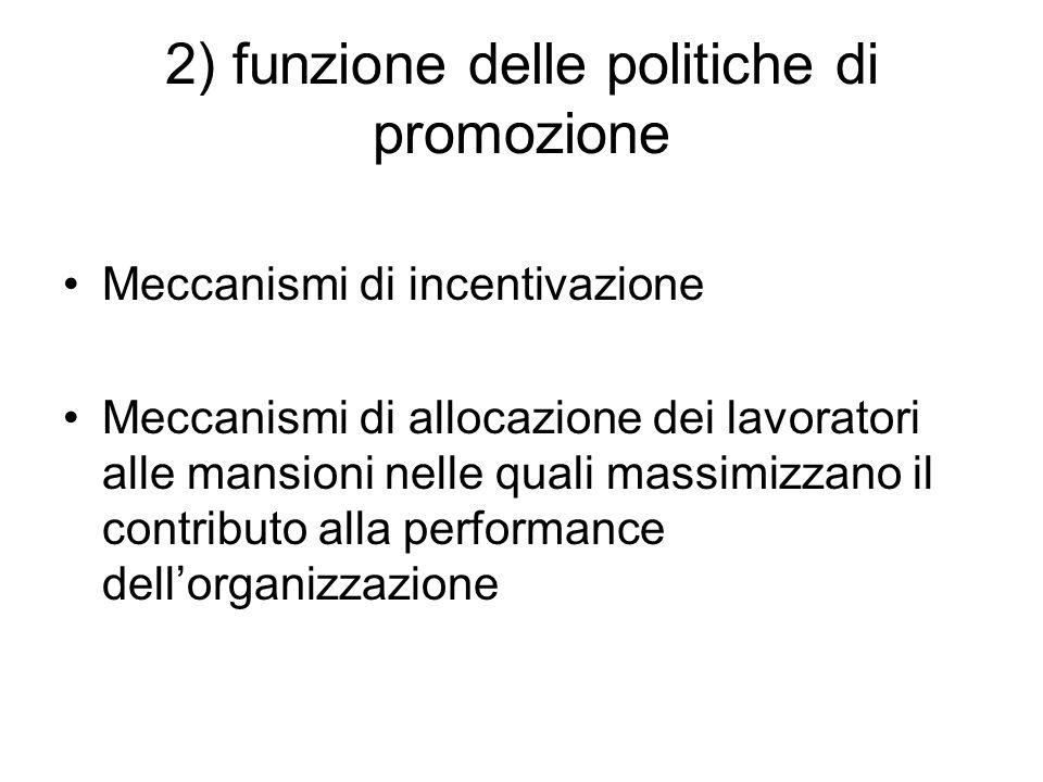 2) funzione delle politiche di promozione