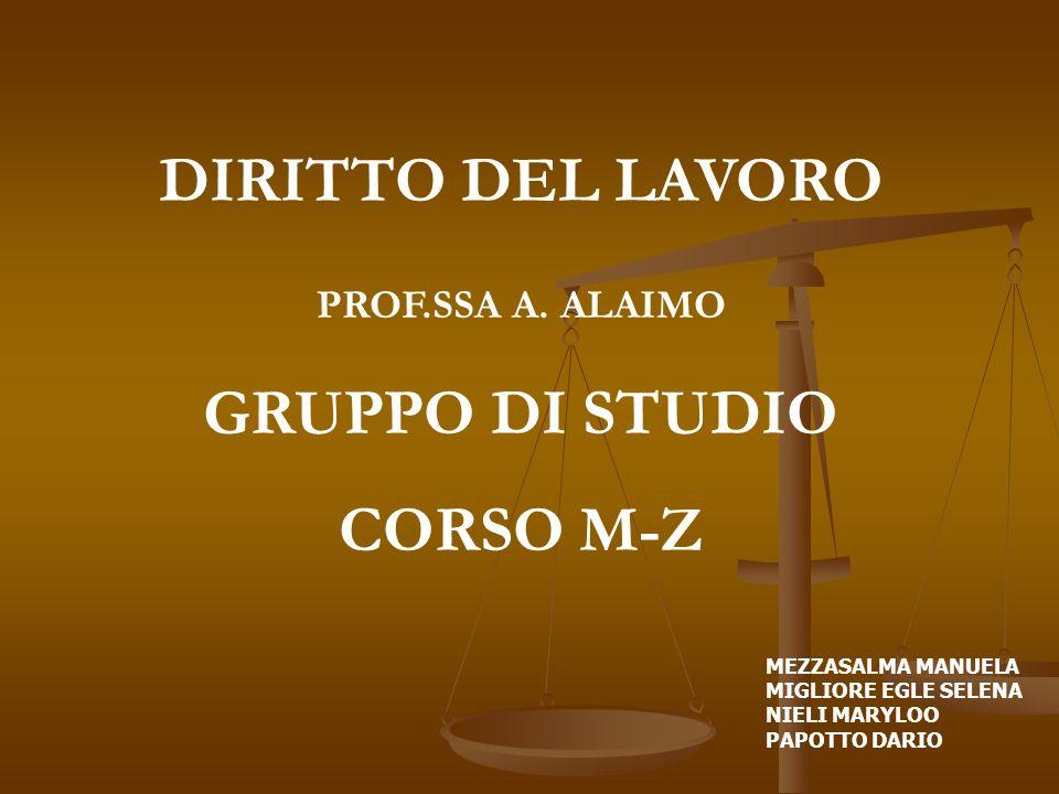 DIRITTO DEL LAVORO GRUPPO DI STUDIO CORSO M-Z