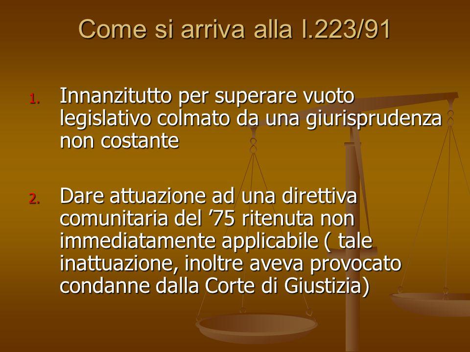 Come si arriva alla l.223/91 Innanzitutto per superare vuoto legislativo colmato da una giurisprudenza non costante.