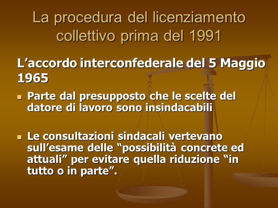 La procedura del licenziamento collettivo prima del 1991