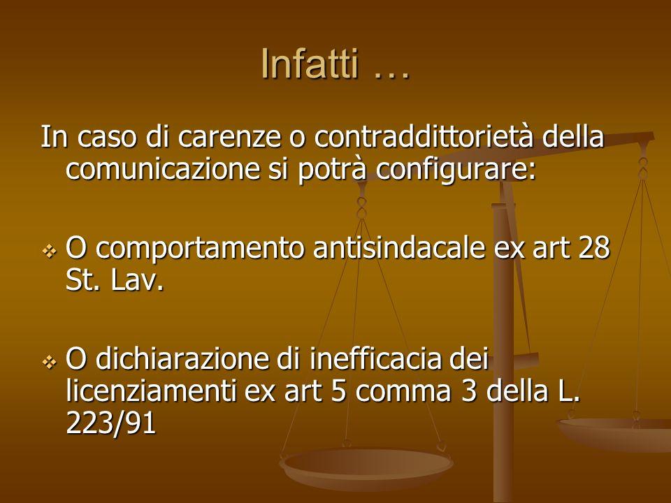 Infatti … In caso di carenze o contraddittorietà della comunicazione si potrà configurare: O comportamento antisindacale ex art 28 St. Lav.