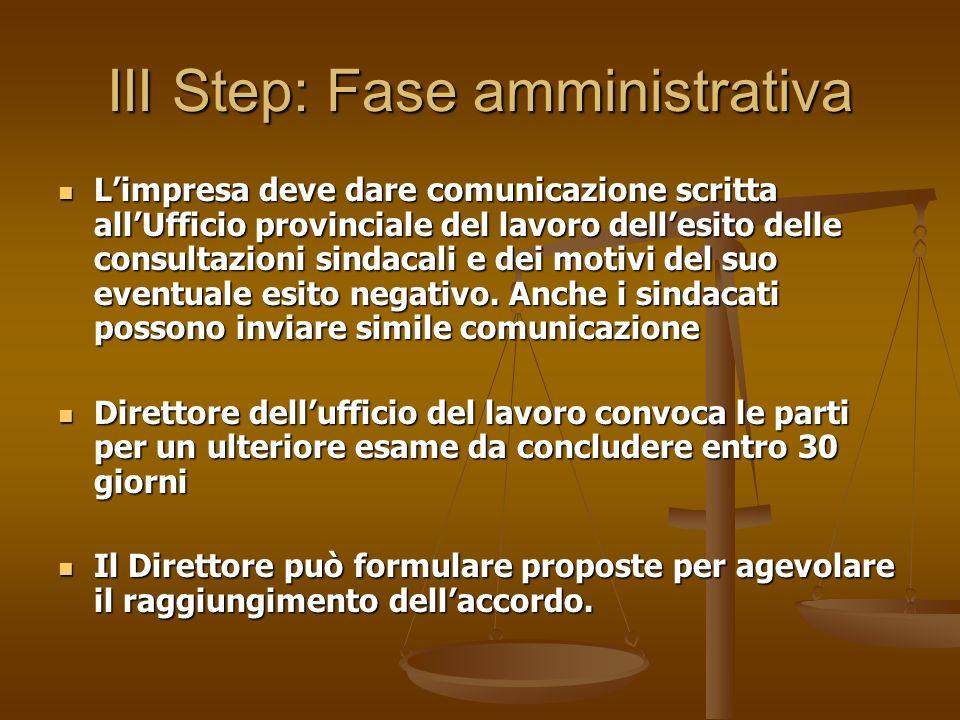 III Step: Fase amministrativa