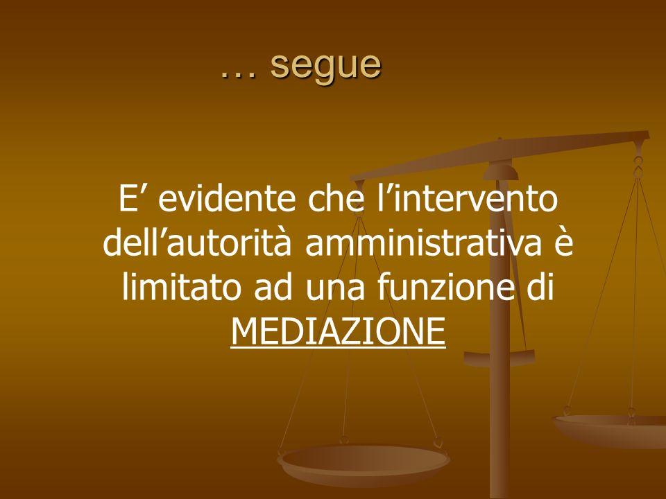 … segue E' evidente che l'intervento dell'autorità amministrativa è limitato ad una funzione di MEDIAZIONE.