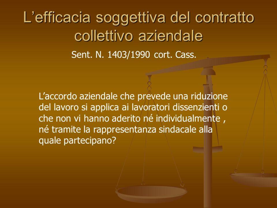 L'efficacia soggettiva del contratto collettivo aziendale