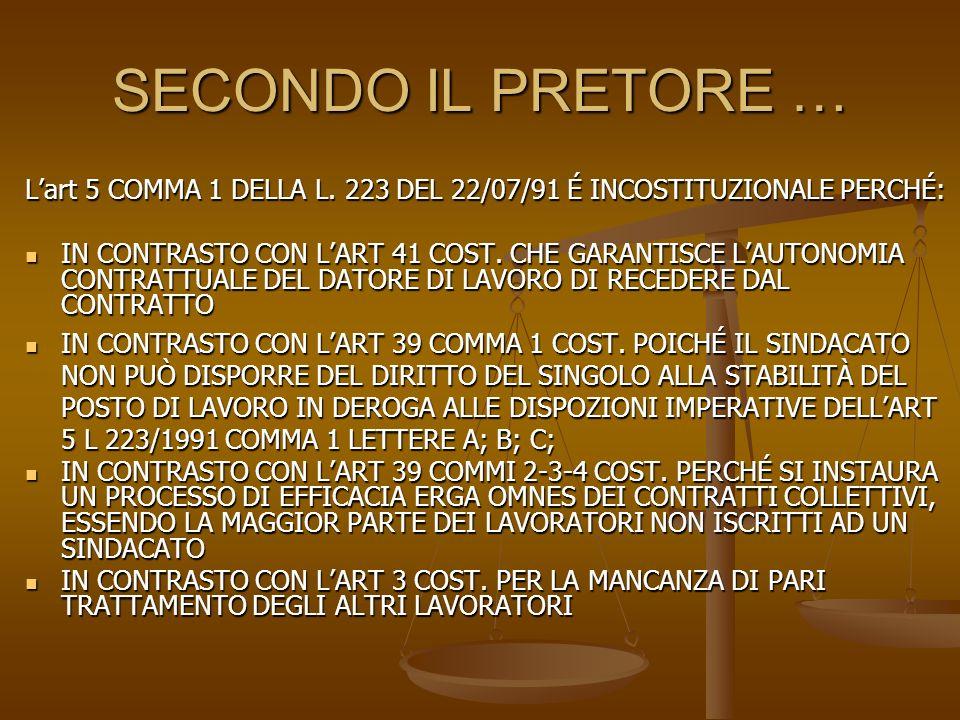 SECONDO IL PRETORE … L'art 5 COMMA 1 DELLA L. 223 DEL 22/07/91 É INCOSTITUZIONALE PERCHÉ: