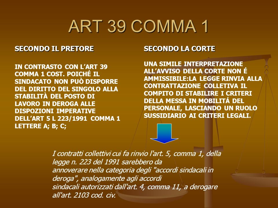 ART 39 COMMA 1 SECONDO IL PRETORE SECONDO LA CORTE