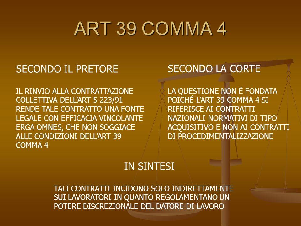 ART 39 COMMA 4 SECONDO IL PRETORE SECONDO LA CORTE IN SINTESI