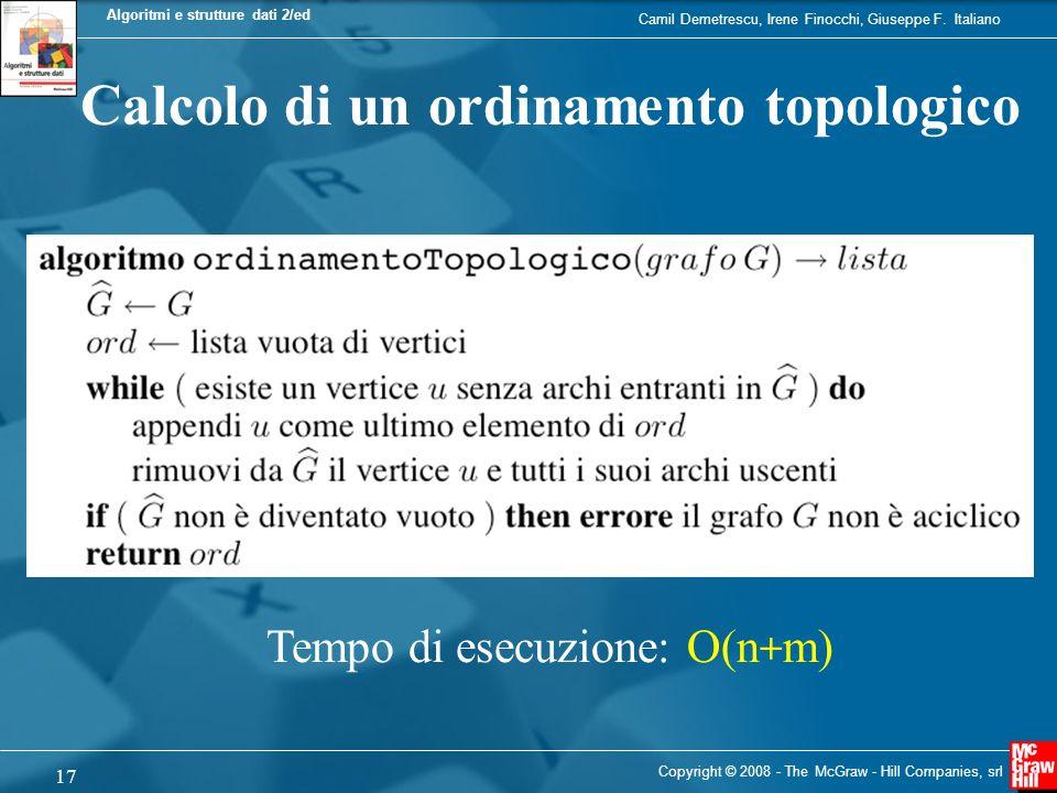Calcolo di un ordinamento topologico